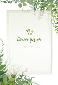 Floral greenery card design: forest fern frond eucalyptus branch green leaves foliage herb greenery frame. wedding invitation