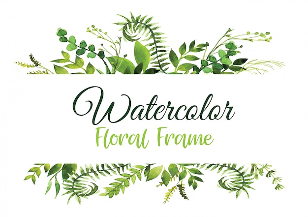 Floral greenery card design with green watercolor fern leaves tropical forest greenery herbs decorative frame,watercolor frame.