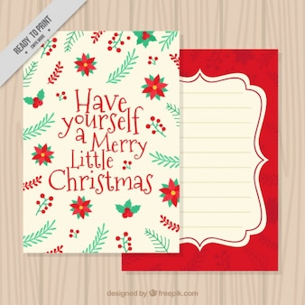 Floral greeting card for christmas