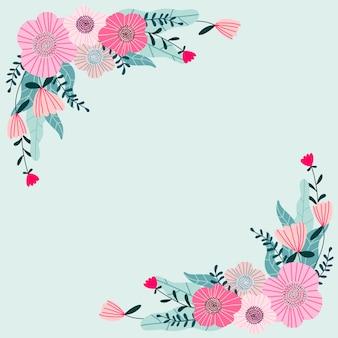 花のグリーティングカードテンプレートデザイン。