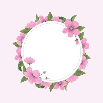 ピンクの花と花のグリーティングカードテンプレート。