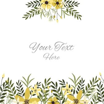 黄色い花、葉と枝を持つ花グリーティングカードテンプレート。