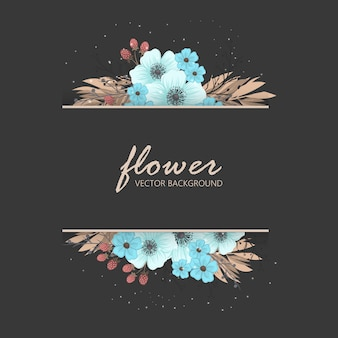 Floral greeting card template.
