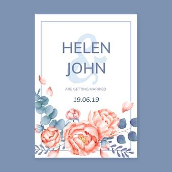 보라색 구성표와 꽃 인사말 카드
