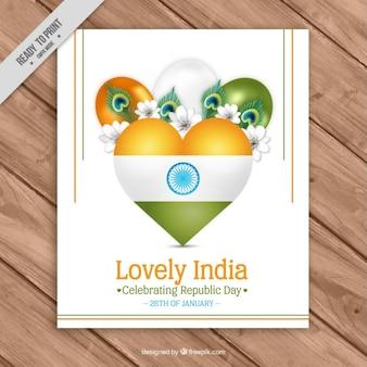 Biglietto di auguri floreale con palloncini per il giorno repubblica indiana