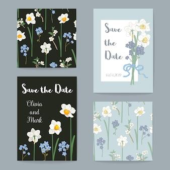 花挨拶カードセット。ベクトル図