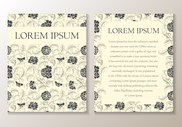Floral greeting or invitation card. template
