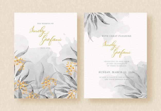 Floral grey watercolor painting on wedding invitation design