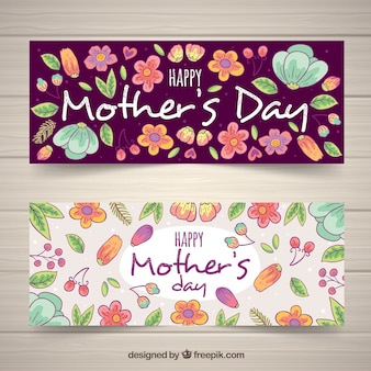 Floral hand drawn banners for mother's day