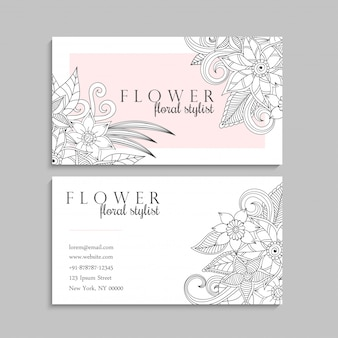Floral hand drawn business card template