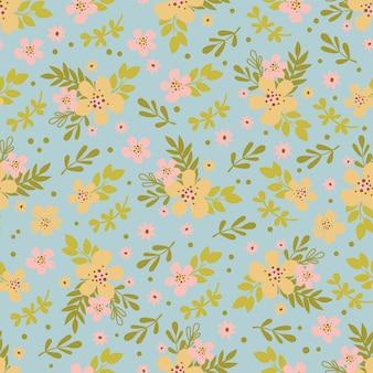 花の手描きの花のシームレスなパターン