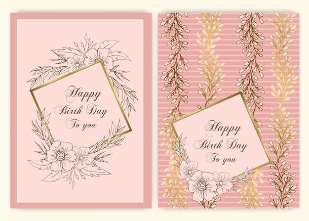 誕生日の招待状のための花の手描きフレーム