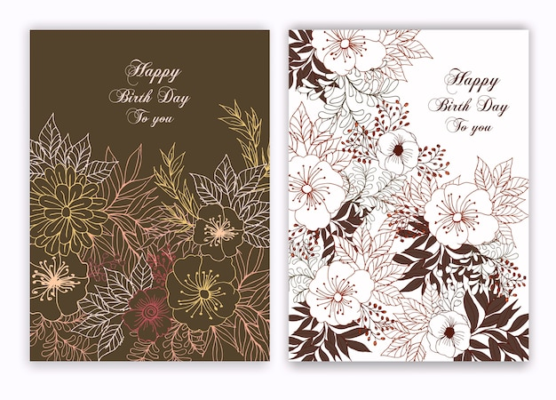 誕生日の招待状の花の手描きのフレーム
