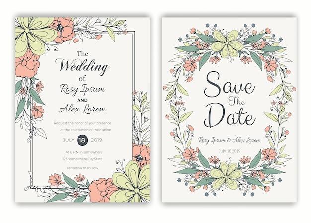 結婚式の招待状のための花の手描きのフレーム