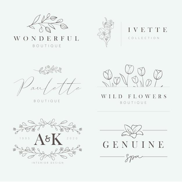 花の手描きのロゴ