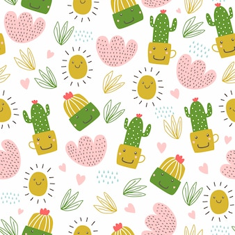 Floral hand drawn seamless pattern with cute cactus and succulents