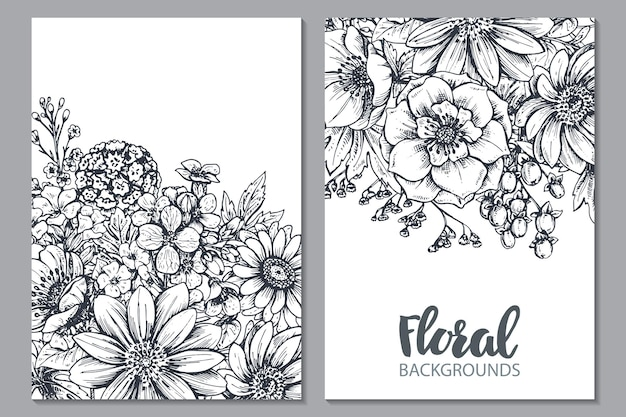 Floral hand drawn spring flowers and plants in sketch style.