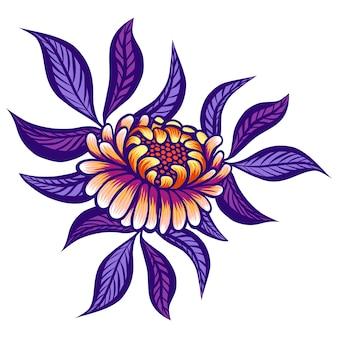 Цветочные рисованной старинный цветок.