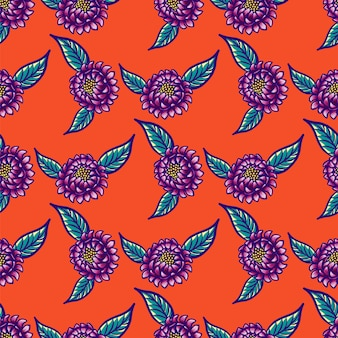 Floral hand drawn vintage seamless pattern with flowers and leaves on a red background.