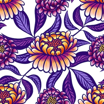 Floral hand drawn vintage seamless pattern with flowers and leaves.