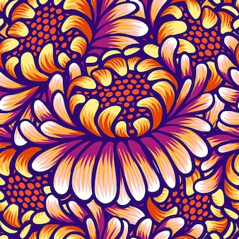 Floral hand drawn vintage seamless pattern with flowers.
