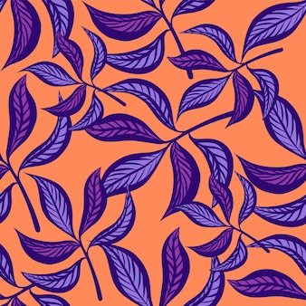 Floral hand drawn vintage seamless pattern with leaves.