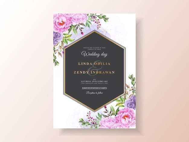 Цветочные рисованной свадебные приглашения шаблон