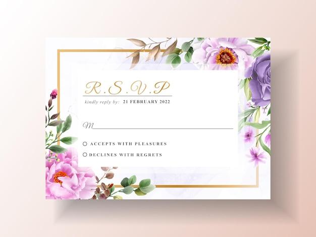 花の手描きの結婚式の招待状のテンプレート