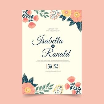 花の手描きの結婚式の招待状 Premiumベクター