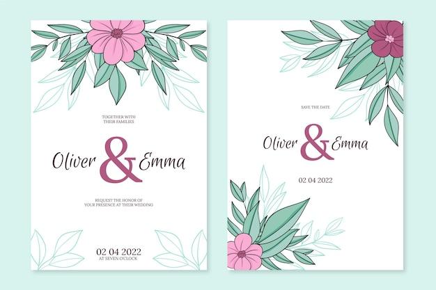 花の手描きの結婚式の招待状