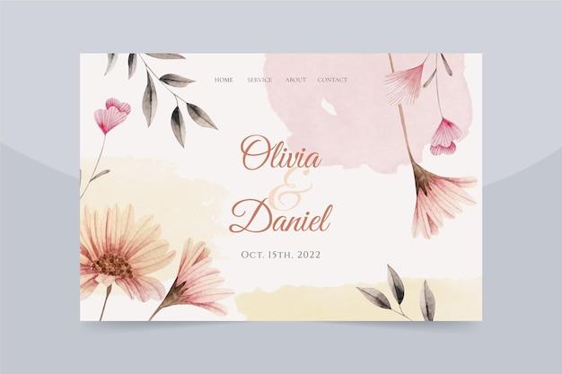 Pagina di destinazione del matrimonio disegnata a mano floreale