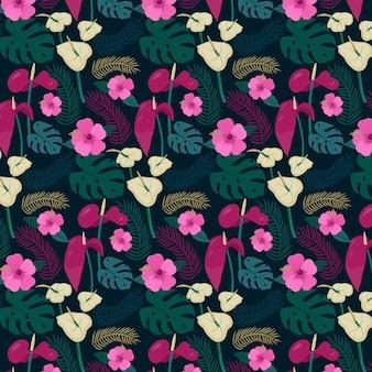 꽃 손으로 그린 패브릭 패턴