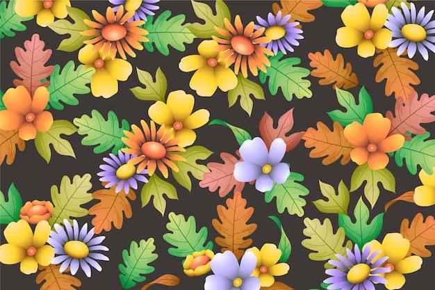 花の手描きのリアルな背景