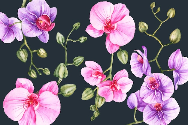 Floral hand-painted realistic background