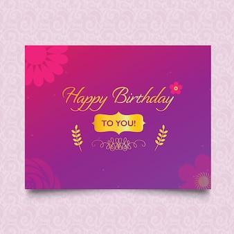 Floral happy birthday card design