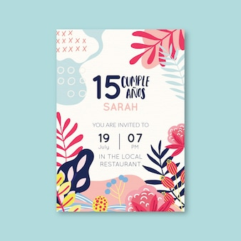 Floral happy birthday card design