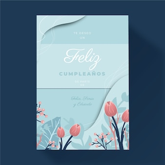 Floral happy birthday greeting card