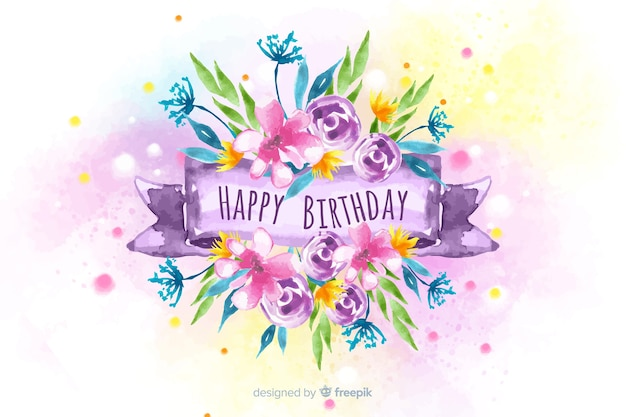 Floral happy birthday watercolor background