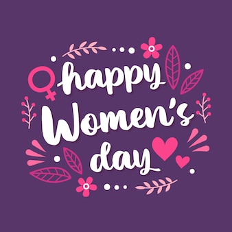 Floral happy women's day lettering