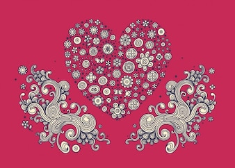 Floral heart and swirly ornaments
