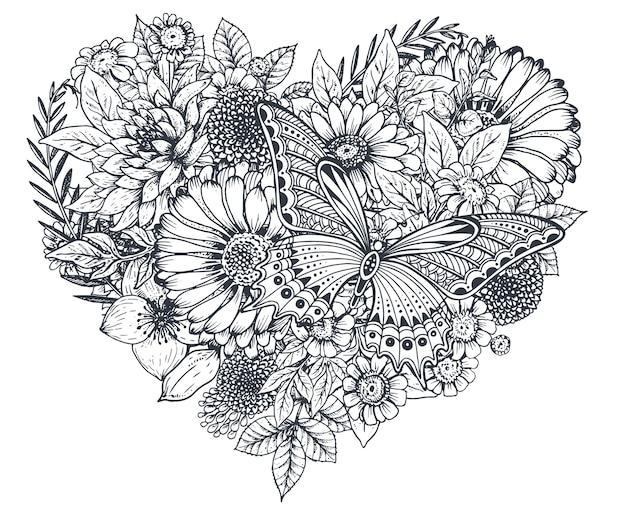 花のハート。手描きの花や植物の花束の構成。スケッチ風のモノクロイラスト。