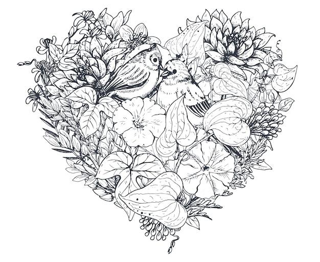 Цветочное сердце. состав букета с нарисованными вручную цветами, растениями и птицами. монохромная иллюстрация в стиле эскиза.