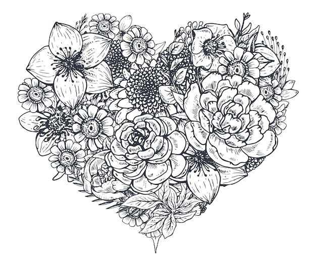 Floral heart. bouquet composition with hand drawn flowers and plants. monochrome  illustration in sketch style.