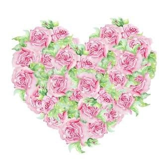 발렌타인 꽃 마음입니다. 아름다운 장미와 손으로 그린 수채화, 결혼식 또는 인사 장에 잎 우아한 꽃 모음.