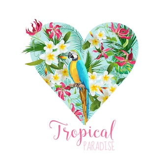 Floral heart graphic design - tropical flowers and parrot bird - for t-shirt, fashion, prints
