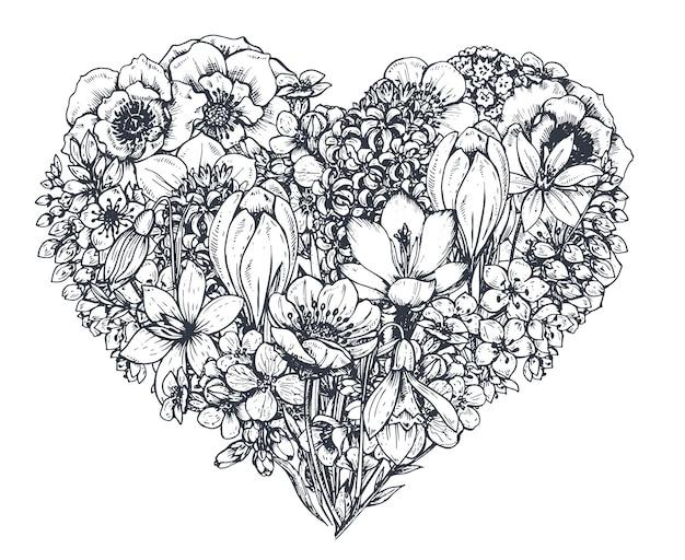 花のハート。手描きの春の花や植物。モノクロ