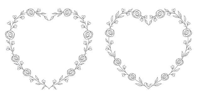 Floral heart illustration for line art with heart shape