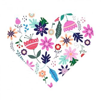 Floral heart in scandinavian folk style
