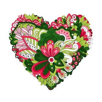 Floral heart shape with hand drawn doodle summer flowers