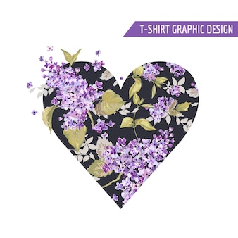 Floral heart style tshirt design